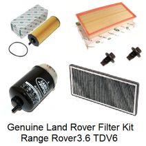 Set filtre revizie Range Rover 3.6 TDV8 2002-2012 Originale Kitul de filtre revizie Range Rover Vogue contine: Filtre originale Land Rover 1. Filtru de aer 2. Filtru de polen cu carbon activ 3. Filtru de ulei 4. Filtru de combustibil (motorina) LR002338, PHE500021, LR032199, WJI500030